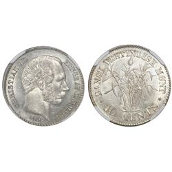 Danish West Indies, 10 cents, Christian IX, 1879, NGC MS 63.