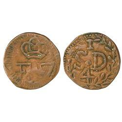 Santo Domingo (under Spain), Dominican Republic, copper 1/4 real (cuarto), Ferdinand VII, struck ca.