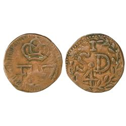 Santo Domingo (under Spain), Dominican Republic, copper 1/4 real (cuarto), Ferdinand VII, struck ca.