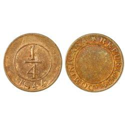Dominican Republic, bronze 1/4 real, 1844, NGC MS 62 BN.