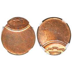 Dominican Republic, bronze 1 centavo, 1978, struck 70% off center, NGC mint error MS 64 RB.