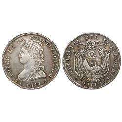 Quito, Ecuador, 2 reales, 1847GJ.