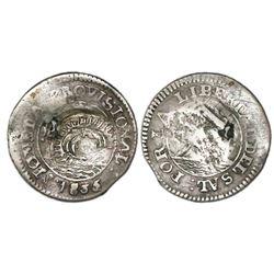 El Salvador, 1 real, unidentified ca.-1837 countermark on an El Salvador provisional 1 real of 1835,