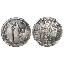 El Salvador, 2 reales, volcano / 1839 countermark (Type III, variety with 3 over retrograde 3) on a
