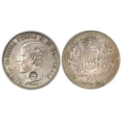 El Salvador, 4 reales, R-in-beaded-circle countermark (Type IV, 1862) on a Guatemala 4 reales, 1860R