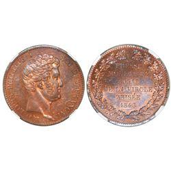 France, bronze essai 5 francs, 1840, Louis Philippe I, raised edge, NGC MS 63 RB.