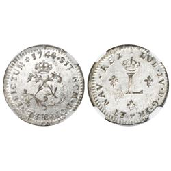 French colonies (struck at the Strasbourg mint, France), billon 1 sou marque, Louis XV, 1744, NGC MS