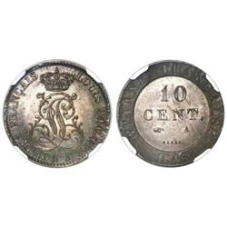 French Guiana (struck at the Paris mint, France), 10 centimes, 1846A, NGC MS 63.