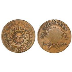 "French West Indies, 3 sols 9 deniers, ""RF"" (Republique Francaise) countermark (1790s)"