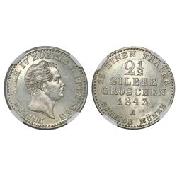 Prussia (German States), 2-1/2 groschen, 1843A, Friedrich Wilhem IV, NGC MS 66.