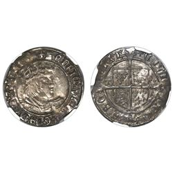 York, England, groat (fourpence), Henry VIII, second coinage (1526-44), Archbishop Wolsey issue with