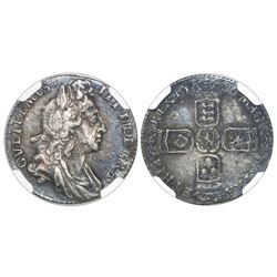 London, England, sixpence, William III, 1696, first bust, early harp, large crowns, NGC XF 45.