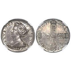London, England, sixpence, Anne, 1703, with VIGO below bust, NGC AU 55.