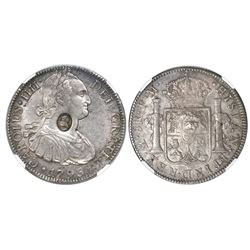 Great Britain, 1 dollar, oval George III countermark (1797-99) on a Mexico City, Mexico, bust 8 real