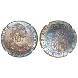 Great Britain (Bank of England), 1/2 dollar, oval George III countermark (1797-99) on a Madrid, Spai
