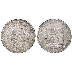 Guatemala, pillar 8 reales, Ferdinand VI, 1755J, large J, rotated double-strike.
