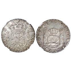 Guatemala, pillar 8 reales, Ferdinand VI, 1757J, no dots in shield-side legend, NGC XF 40.