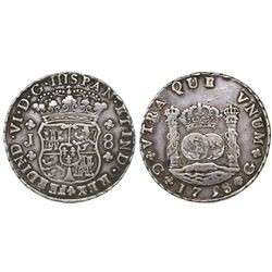 Guatemala, pillar 8 reales, Ferdinand VI, 1758J, space between 7 and 5 in date.