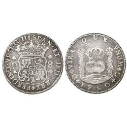Guatemala, pillar 8 reales, Ferdinand VI, 1760P.
