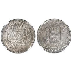 Guatemala, pillar 8 reales, Charles III, 1768P, NGC AU 50.