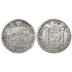 Guatemala, pillar 8 reales, Charles III, 1768P.