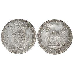 Guatemala, pillar 4 reales, Ferdinand VI, 1754J, Spanish 5.