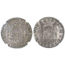 Guatemala, pillar 4 reales, Charles III, 1768P, NGC VF 25, ex-Richard Stuart.