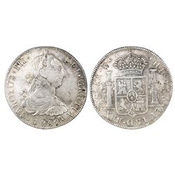 Guatemala, bust 8 reales, Charles III, 1782P, rare.
