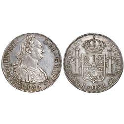 Guatemala, bust 8 reales, Charles IV, 1804M.