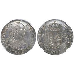 Guatemala, bust 8 reales, Ferdinand VII, 1809M, NGC MS 62, ex-Richard Stuart (stated on label).