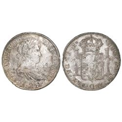 Guatemala, bust 8 reales, Ferdinand VII, 1818M.