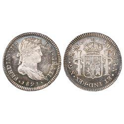 Guatemala, bust 1 real, Ferdinand VII, 1821M, NGC MS 63.