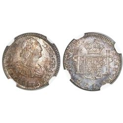 Guatemala, bust 1/2 real, Ferdinand VII transitional (bust of Charles IV), 1808M, NGC MS 66, finest
