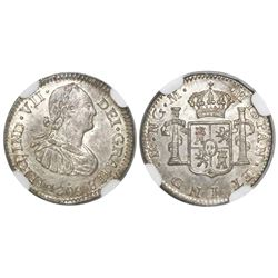 Guatemala, bust 1/2 real, Ferdinand VII transitional (bust of Charles IV), 1808M, NGC MS 65, ex-Rich