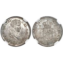 Guatemala, bust 1/2 real, Ferdinand VII, 1814M, low 8 in date, NGC MS 65.
