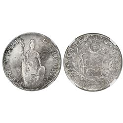 Guatemala, 8 reales, sun-over-mountains double countermark (Type III, 1840) on a Lima (State of Nort