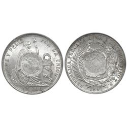 """Guatemala, peso, """"1/2 real"""" counterstamp of 1894 on a Lima, Peru, 1 sol, 1891TF, PCGS MS62, c/m UNC"""
