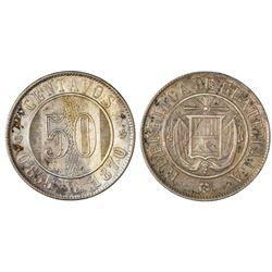 Guatemala, 50 centavos, 1870R, NGC AU 58, ex-Dana Roberts (stated on label).