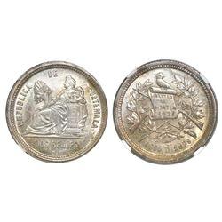 Guatemala, 2 reales, 1879D, NGC MS 62.