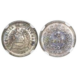Guatemala, 10 centavos, 1881, NGC MS 63, ex-Dana Roberts (stated on label).