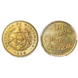 Guatemala (struck in London, England), proof brass 1 centavo de quetzal, 1939, PCGS PR64, finest and