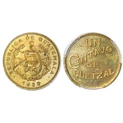 Guatemala (struck in London, England), proof brass 1 centavo de quetzal, 1939, PCGS PR64, finest and