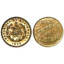 Guatemala, proof brass 1/2 centavo de quetzal, 1932, NGC PR 63, ex-Whittier (stated on label).