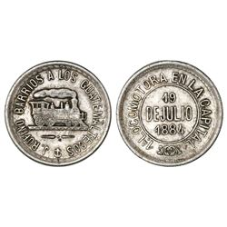 Guatemala, silver token, 1884, Rufino Barrios, first locomotive in the capital city.