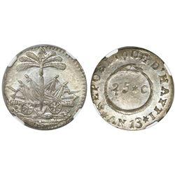 Haiti, 25 centimes, 1816 / AN 13, NGC MS 62.