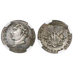 Haiti, 25 centimes, 1817 / AN 14, Petion (large head), P below bust, NGC VF 35.
