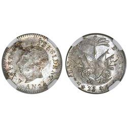 Haiti, 25 centimes, 1817 / AN 14, Petion (small head), NGC MS 64.