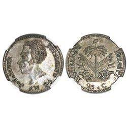 Haiti, 25 centimes, AN 24 (1827), Boyer (transitional head), NGC AU 53.