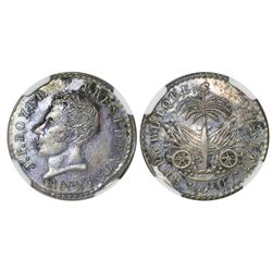 Haiti, 25 centimes, AN 24 (1827), Boyer (standard head), NGC AU 53, finest known in NGC census.