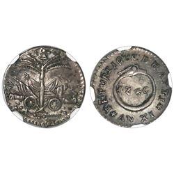 Haiti, 12 centimes, An XI (1814), NGC AU 55.